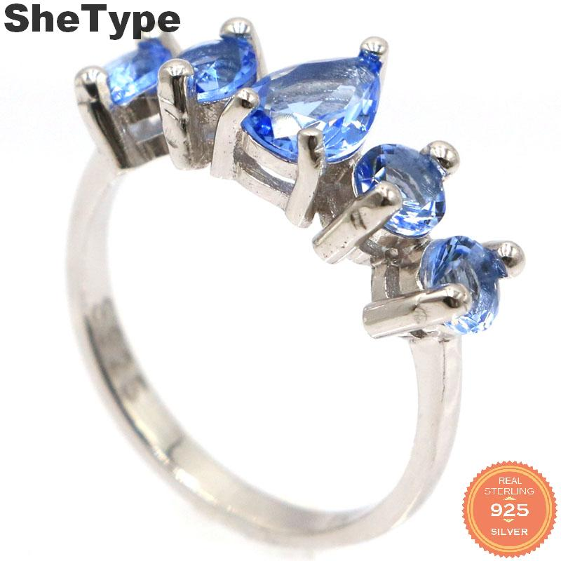 20x7mm 2019 New Designed 2.6g Created Violet Tanzanite Gift For Sister 925 Solid Sterling Silver Rings