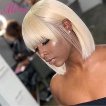Human Hair Wigs With Bangs Short Straight Bob For Women #613 Honey Yellow Ombre 1B/27 P4/27 Blonde 1B/118 Red 99J Burgundy