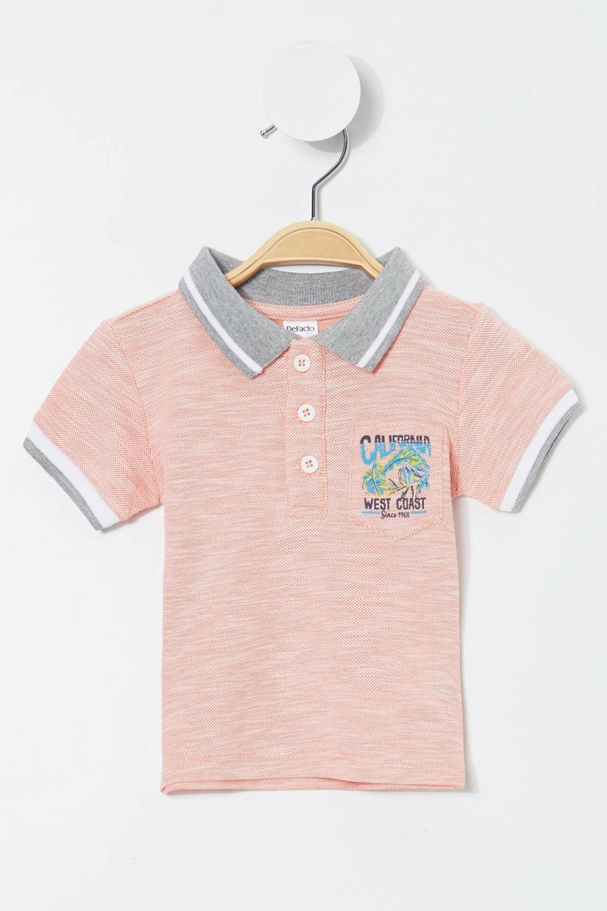 DeFacto Summer Baby Fashion Lapel T-shirt High Quality Kids Casual Short Sleeves Comfort Tops New - K8258A219SM