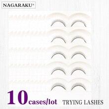 NAGARAKU 10 ชุดถาดขนตาปลอม Handmade ขนตาการฝึกอบรมสำหรับผู้เริ่มต้น Eyelash Extensions Salon นักเรียนฝึก