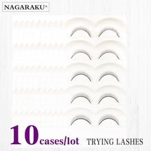 NAGARAKU 10 Trays Set False Eyelashes Handmade Training Lashes For Beginners Eyelash Extensions  Beauty Salon Student Practice