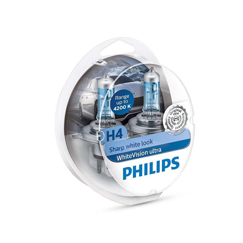 PHILIPS 12342WVUSM H4 12 V-60/55 W (P43t) (luz absolutamente blanca) whiteVision Ultra (N paquete de 2 piezas) 59251