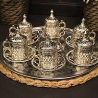 Copper Ottoman Turkish Arabic Tea Coffee Espresso Cups Mug Set 6 pcs Cups Sauces with Tray, Sugar Bowl Made in Turkey Gift Box