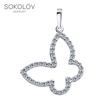 SOKOLOV suspension of silver with fianitami, fashion jewelry, 925, women's/men's, male/female, women's male, pendants for neck women