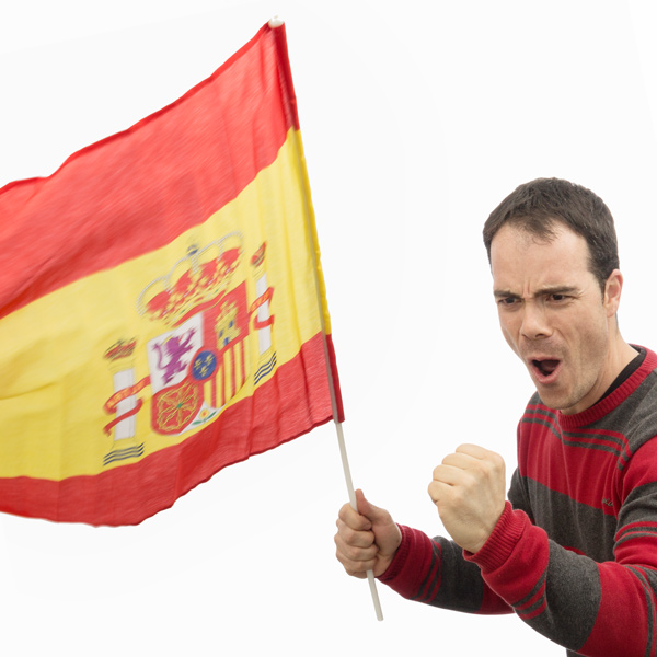 Spanish Flag With Pole (90 X 60 Cm)