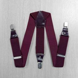 Подтяжки для брюк широкие, натуральная кожа (3.5 см, 3 клипсы, Бордовый) 54747