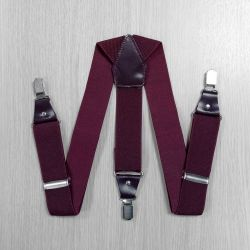 Suspenders for trousers wide, genuine leather (3.5 cm, 3 clips, Burgundy) 54747