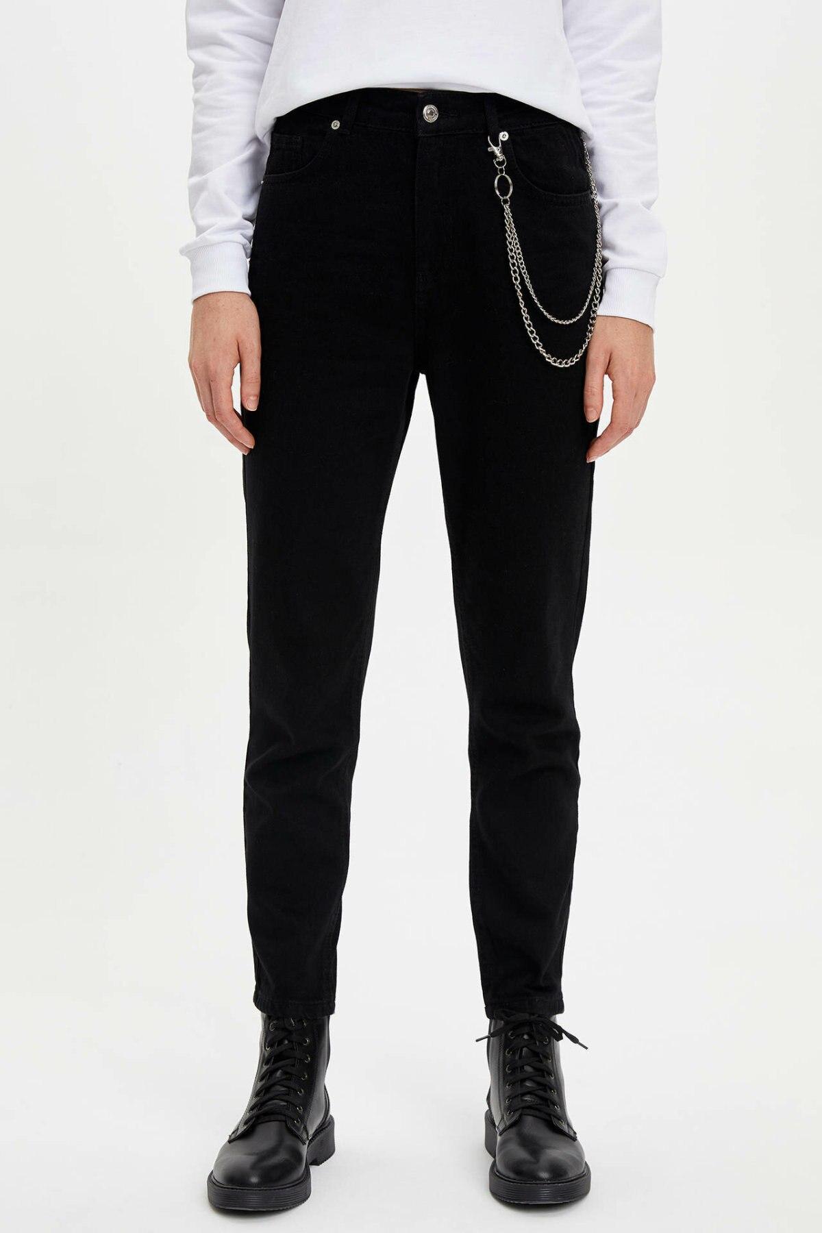 DeFacto Fashion Woman Black Trousers Casual Straight Loose Pants Mid Waist Leisure Breathable Chain Pants Female  - L6280AZ19AU
