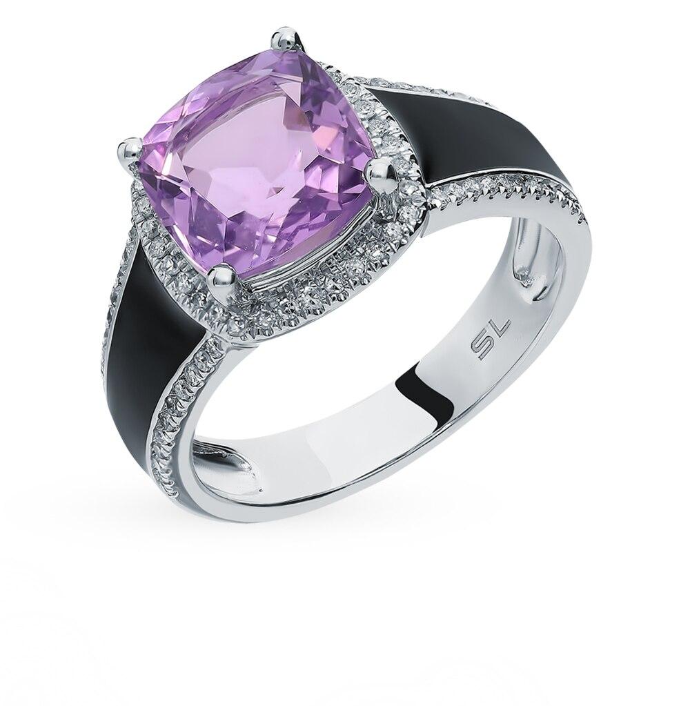 Gold Amethyst Ring, Enamel And Diamond SUNLIGHT Test 585