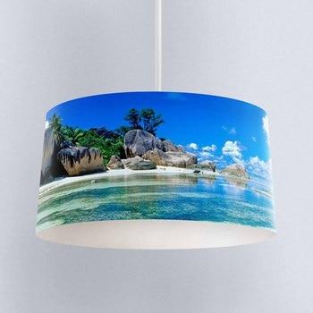 Else Tropical Island Beach Sea Side Digital Printed Fabric Chandelier Lamp Drum Lampshade Floor Ceiling Pendant Light Shade