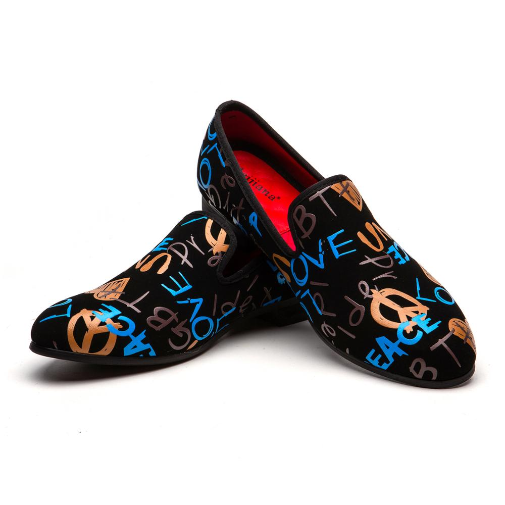MEIJIANA Fashion Casual Shoes Men Loafers Brand Men Shoes Velvet Men Colorful Graffiti Party Loafers Shoes Luxury Men's Loafers