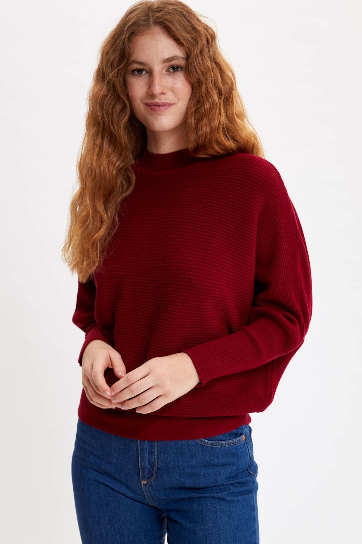 DeFacto Woman Winter Red Knitted Pullovers Women Casual Loose Pullover Female Black Pullover Tops-L3001AZ19WN
