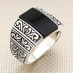 Turecka biżuteria 925 srebro pierścionek prawdziwy kamień mężczyźni pierścionki biżuteria męska pierścionki na pierścionki męskie kobiety męskie pierścionki męskie pierścionek