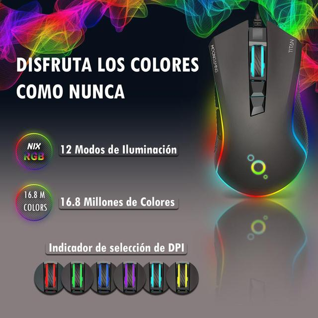 Ratón Gaming Profesional - MoonGaming TITAN / Pmw 3360 / 12000 Dpi / Full RGB 3