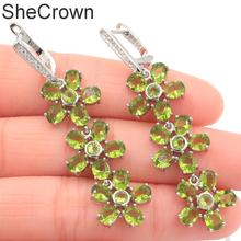 54x14mm Luxury Long Big 10g Created Green Peridot White CZ Gift For Ladies Silver Earrings
