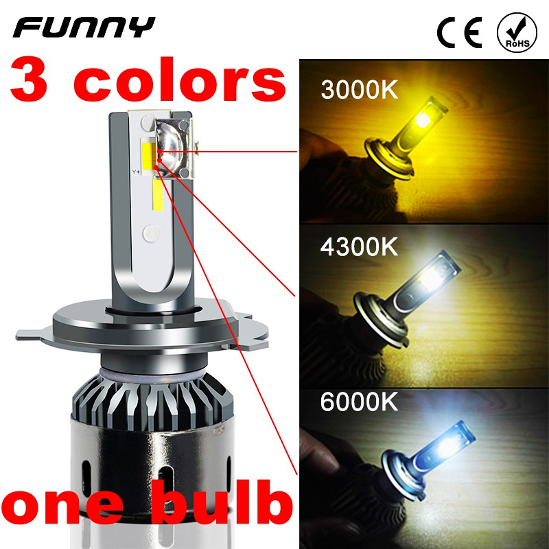 Car Headlight Lamp 3 Colors Dimmable New Arrivals H1 H3 H4 H7 H8 H11 9005 9006 LED 3000K 4300K 6000K Tri-colour Bulb 10000LM