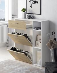 Home Innovation-Zapatero vent, couleur structure blanc, couleur Puccini 2 portes chaises en porte-à-faux et le tiroir, mesure 90x26x101.5cm