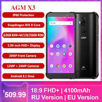AGM X3 Rugged 8/6GB+256/128/64GB Waterproof 5.99Inch Snapdragon 845 8-core Mobile Phone Android 8.1 24MP 4100mAh 4G Smartphone