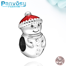 2020 Cute Snowman Sterling Silver 925 Bead Fit Pandora Charms Silver 925 Original Bracelets Jewelry Making Charm Beads DIY Gift wostu authentic 100% 925 sterling silver cute owl love story charms fit original wst bracelets diy jewelry gift cqc425