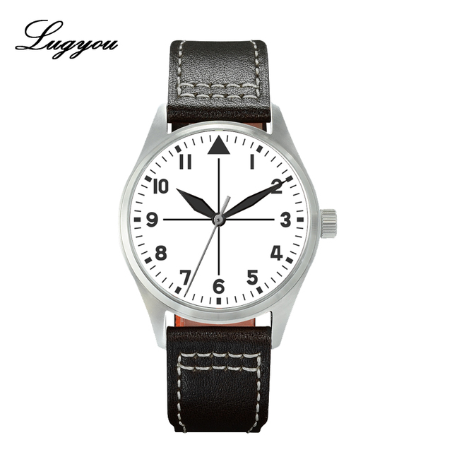 Lugyou San Martin Pilot Men Watch Automatic Stainless Steel 20ATM Leather Strap 39mm Sapphire Waterproof White Face Super Lum