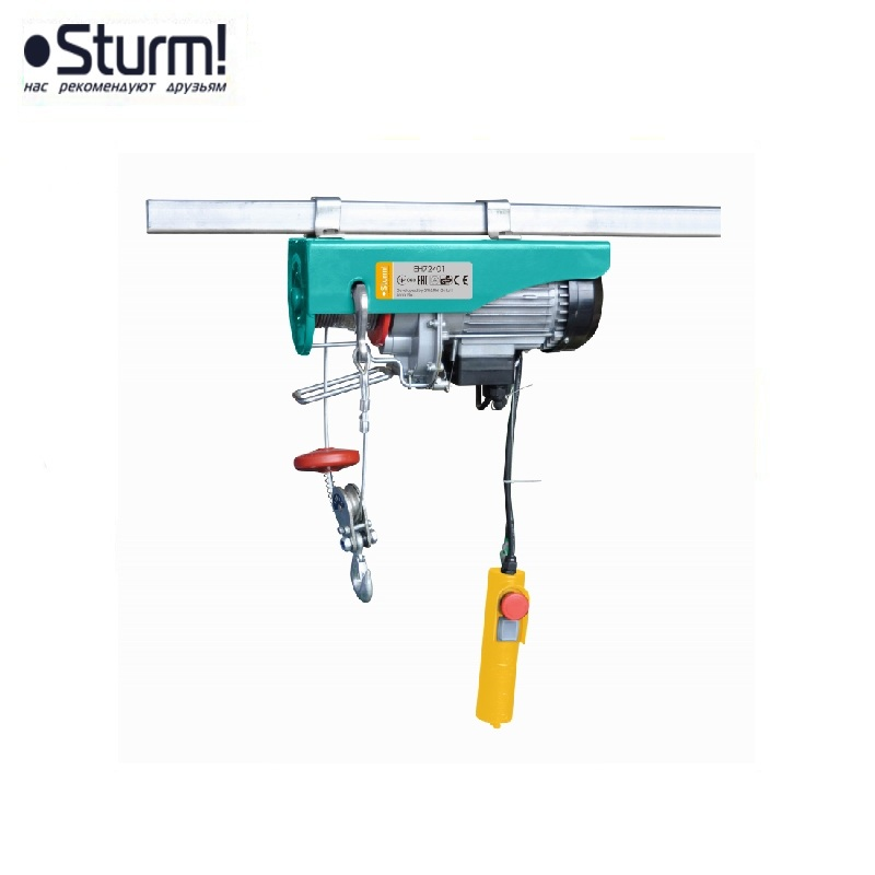 EH72401 Sturm hoist, 1050 W, 250/500 kg, 12/6 m, damper, tensile and break protection Crane pulley Electric chain hoist Fixed цена