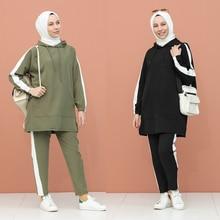 Tracksuit-Top Turkey Muslim Arabia Fashion Women's 2 in Trend Part Headscarf Hooded Old