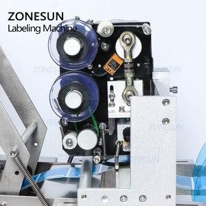 Image 3 - ZONESUN TB YL50D شبه التلقائي ماكينة لصق العلامات على الزجاجات المستديرة تسمية قضيب مع ماكينة لطبع التاريخ بطاقات ذاتية اللصق موزع