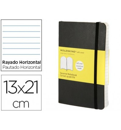 MOLESKINE NOTEBOOK SOFTCOVER HORIZONTAL STRIPED 240 SHEETS COLOR OFF BLACK WITH RUBBER 130X210 MM