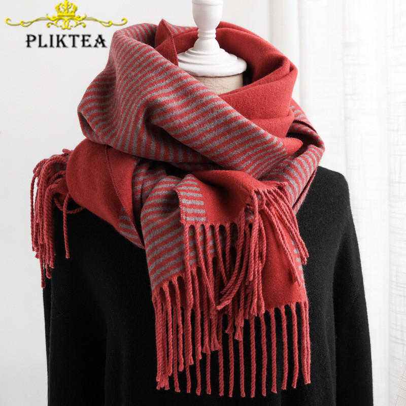 2019 Winter New Female Red Striped Scarf Thick Women's Cashmere Scarves Shawl Ladies Tippet Scarf Female Winter Poncho Stole