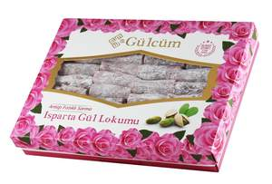 Wrapped Rose-Turkish-Delight with Pistachio Dessert Gourmet Delicious Vegan Candy 400gr