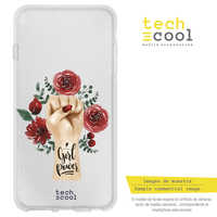 FunnyTech®Silicone Case for Samsung Galaxy S9 Plus L Girl power drawing female background transparent