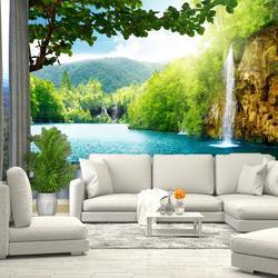 3D Фотообои водопад море зелень трава, обои на стену, для зала, кухни, спальни, детской, фотообои расширяющие пространство