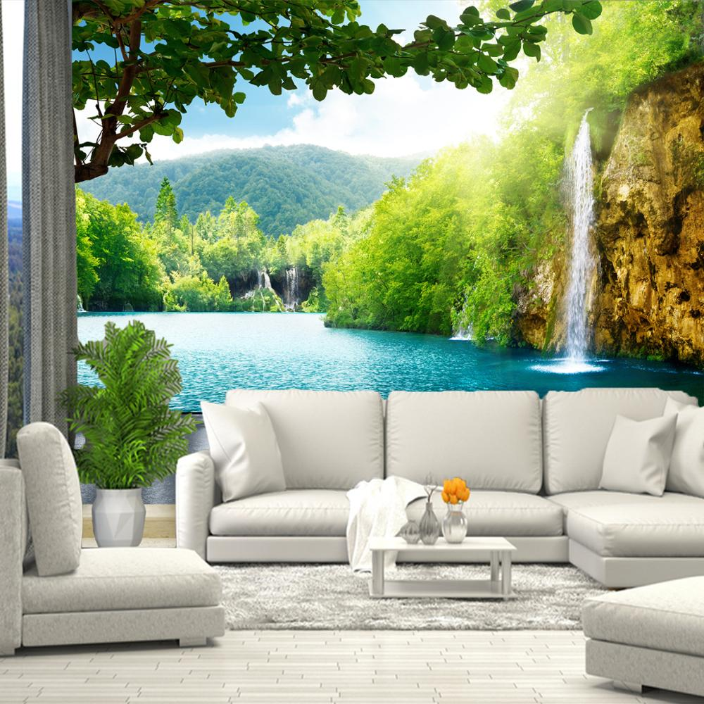 3D Wall Mural Waterfall Sea Greens Grass, Wallpaper For Hall, Kitchen, Bedroom, Nursery, Wall Mural Expanding Space