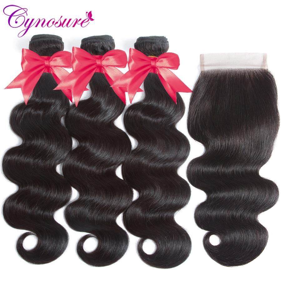 U3fb7655da886483f91d9076e1a08baa1L Cynosure Brazilian Hair Weave 3 Bundles With Closure Double Weft Body Wave Human Hair Bundles With Closure Remy Medium Ratio
