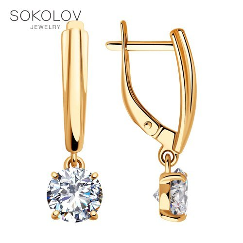 SOKOLOV Drop Earrings With Stones In Gilded Silver With Cubic Zirconia Fashion Jewelry 925 Women's/men's, Male/female, Long Earrings, Women's Male