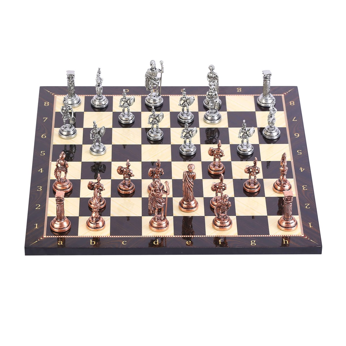 Historical Antique Copper Rome Figures Metal Chess Set, Handmade Pieces, Walnut Patterned Wood Chess Board Small Size King 4.8cm