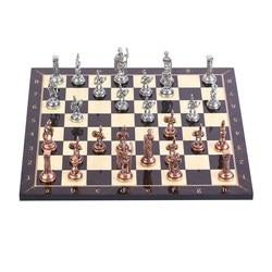 Historische Antike Kupfer Rom Zahlen Metall Schach Set, Handgemachte Stücke, nussbaum Gemusterte Holz Schach Bord Kleine Größe König 4,8 cm