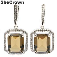 35x17mm Charming Created Smokey Topaz Natural CZ Ladies Silver Earrings