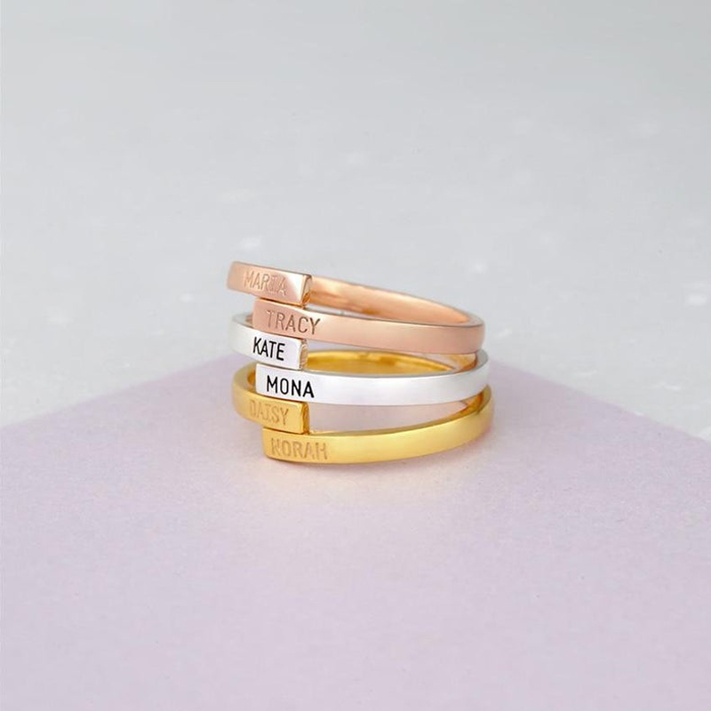 Customized Engraved Two Name Rings Silver Gold Stainless Steel Adjustable Custom Rings For Women Best Friends Gift