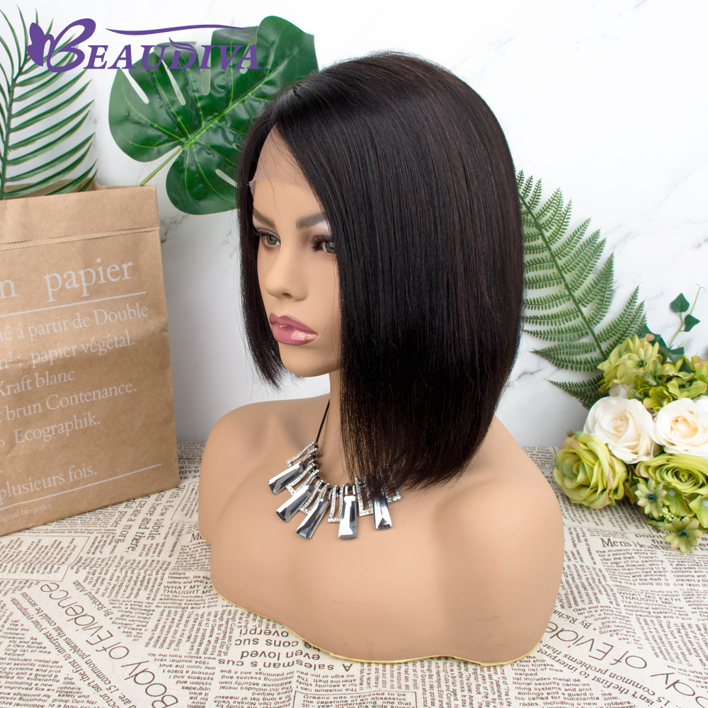 Straight Short  Wigs 150%   Hair Can Be Dyed Part Lace Bob  Wigs Pre-Plucked Bleached Knots 3