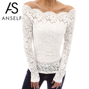 Anself Sexy Plus Size Lace Top Women Hollow Out Off Shoulder Lace Blouse Slash Neck Long Sleeves Elegant Ladies 5XL Shirt Tops(China)