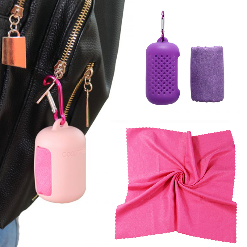 Travel Quick-drying Towel Silicone Storage Microfiber Ice Towel Travel Portable Gym Cold Towel Travel Accessories