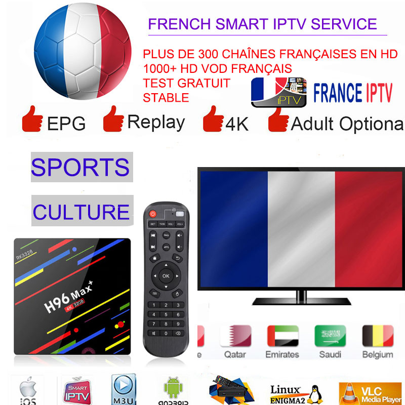 Moins cher IPTV français Android TV Box France Sport turquie arabe africain arabie saoudite 1 an belgique UK arabe Smart TV H96 MAX +