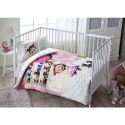 100% fabricado en algodón en Turquía MASHA bebé cuna ropa de cama funda nórdica para niño niña vivero, vivero decor chica de dibujos animados de animales de bebé antialérgico