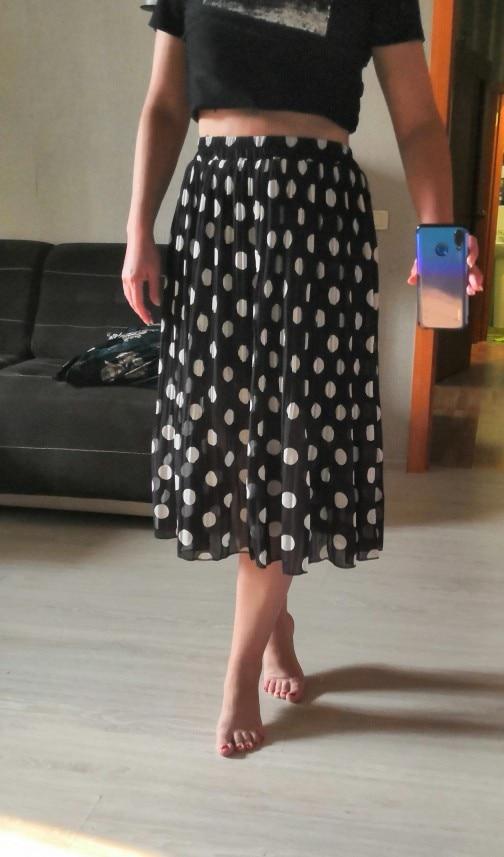 4Xl 5Xl Plus Size Pleated Chiffon Skirt For Woman Summer Elastic Waist Polka Dot Print Beach Skirts Femme Saia Midi photo review