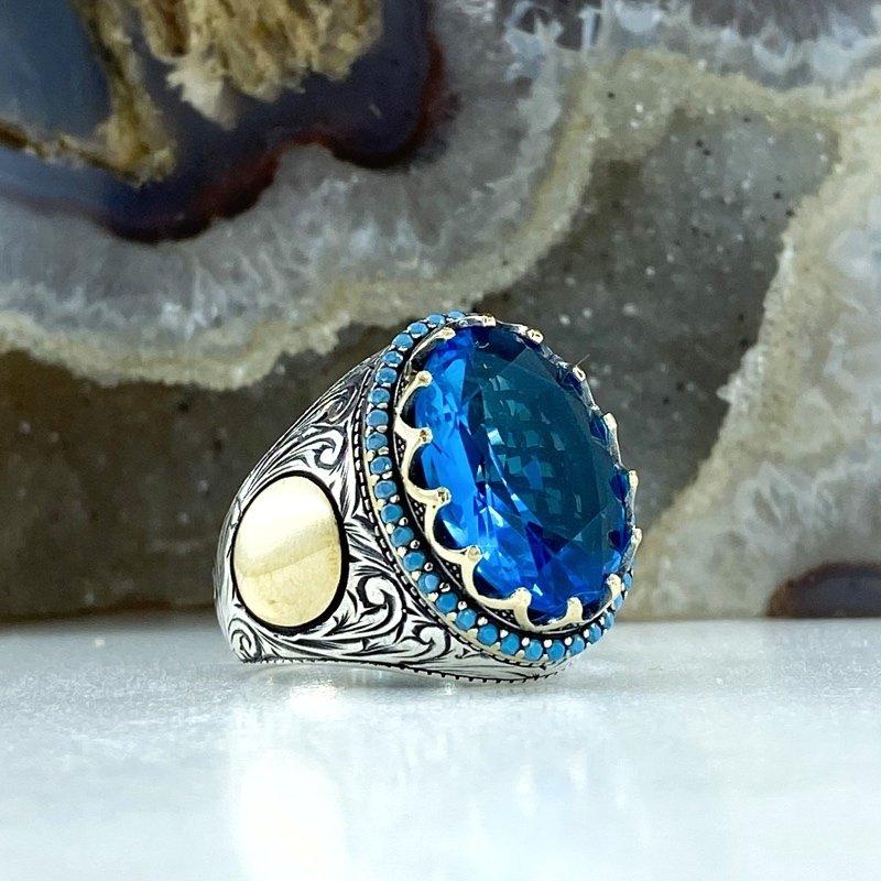 Aquamarine Turquoise Hand Production Custom Design Sterling Silver Men 'S Ring