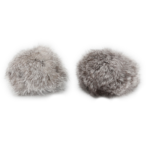 Pompon Made Of Natural Fur (rabbit), D-8cm, 2 Pcs/pack (a White-gray)