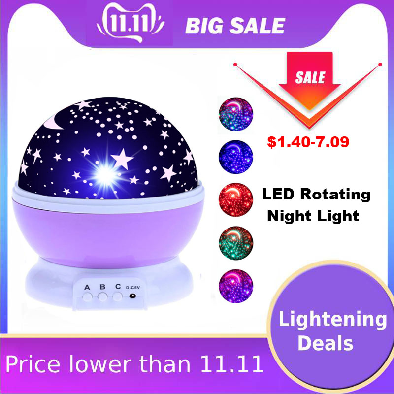 Christmas Gift LED Night Light Projector Star Moon Sky Rotating Sleep Romantic LED USB Projection Lamp For Children Baby Bedroom