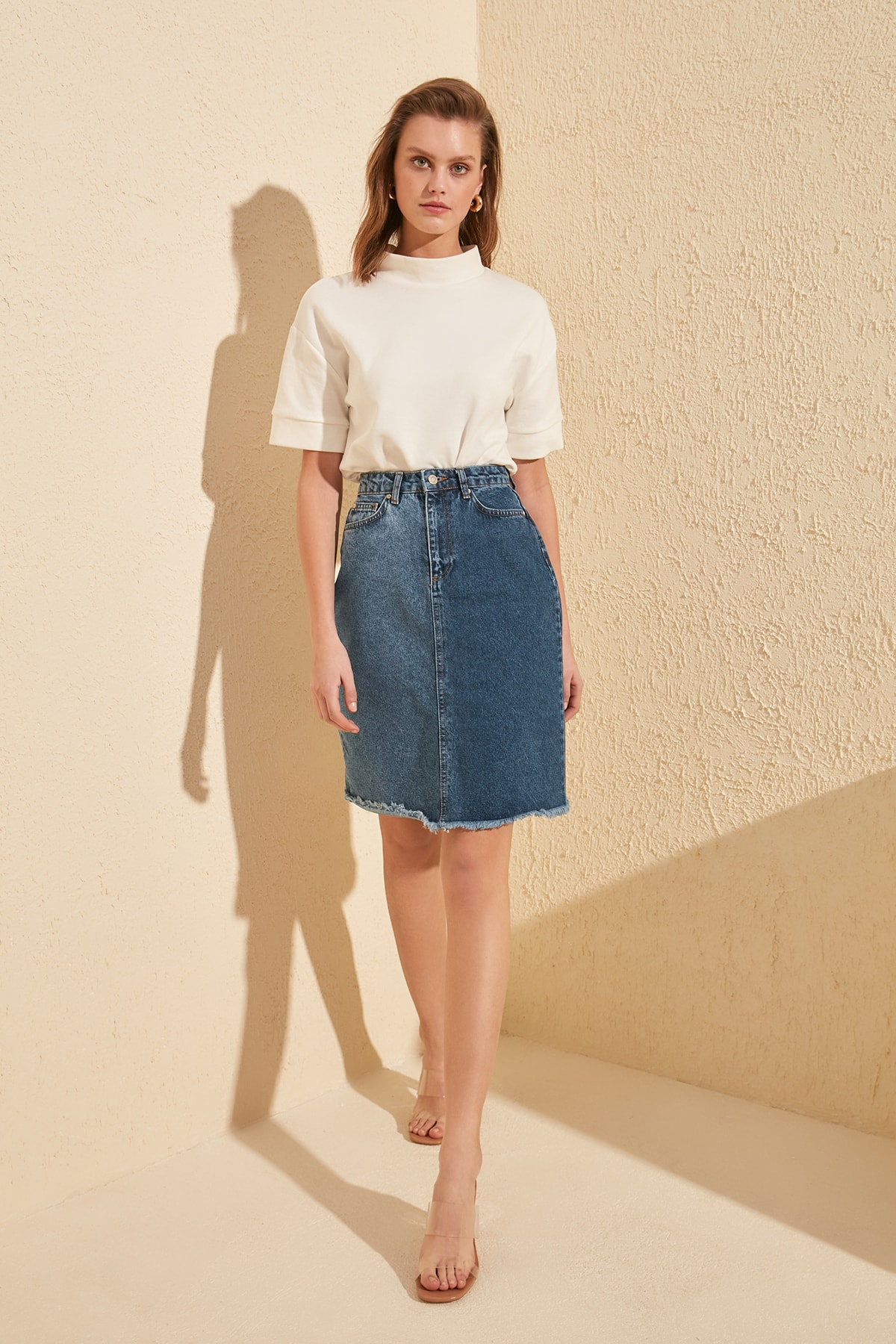 Trendyol With Color Block Skirt Tip Tassels Denim Skirt TWOSS20ET0059