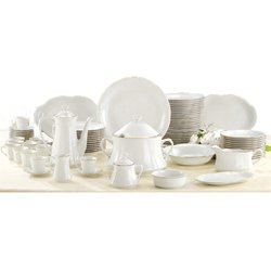 A BDC DISHES Porcelain VERSAILLES 83 Pieces with Gilt Edged To 12 diners Included game of Coffee 27 Pieces